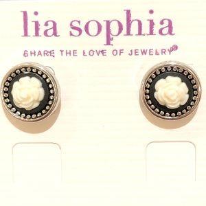 Lia Sophia Midnight Rose Stud Earrings